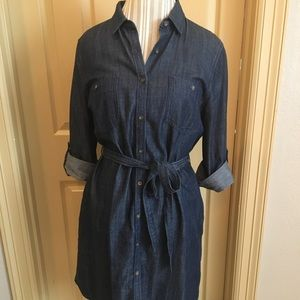 Denim bottom down dress